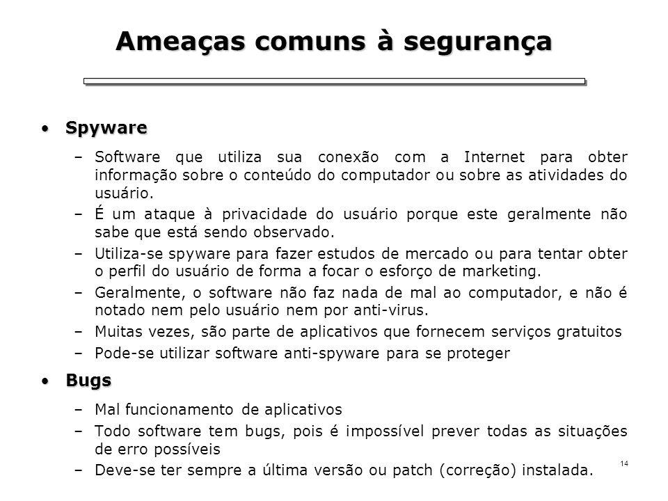 14 Ameaças comuns à segurança SpywareSpyware –Software que utiliza sua conexão com a Internet para obter informação sobre o conteúdo do computador ou