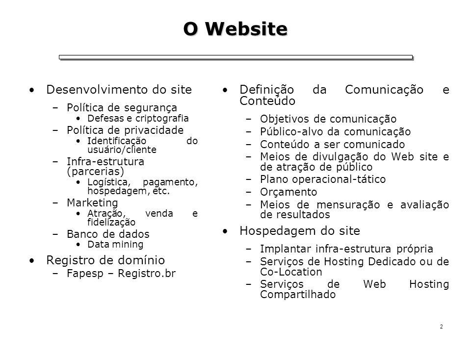 2 O Website Desenvolvimento do site –Política de segurança Defesas e criptografia –Política de privacidade Identificação do usuário/cliente –Infra-est