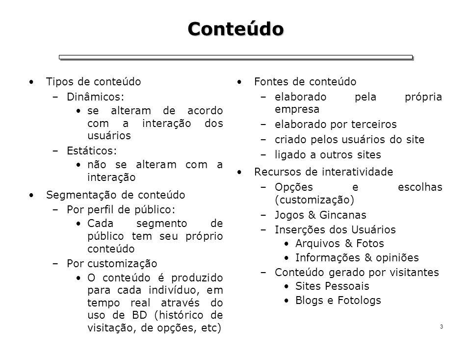 3 Tipos de conteúdo –Dinâmicos: se alteram de acordo com a interação dos usuários –Estáticos: não se alteram com a interação Segmentação de conteúdo –