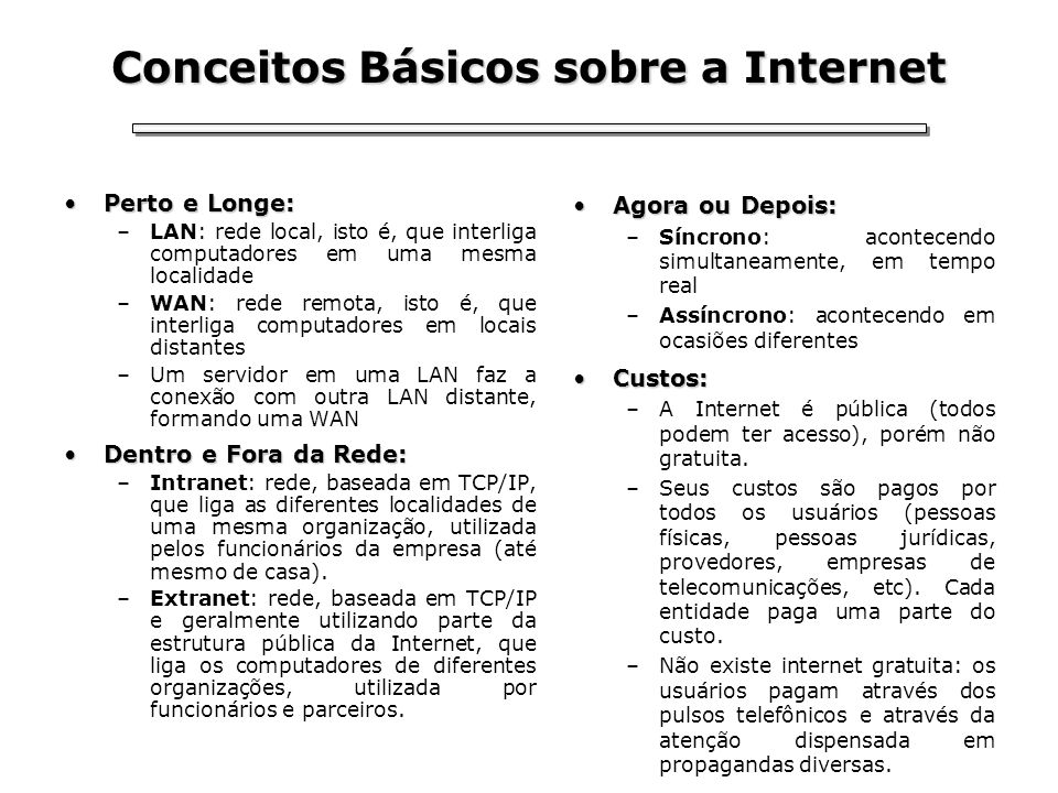 Conceitos Básicos sobre a Internet Perto e Longe:Perto e Longe: –LAN: rede local, isto é, que interliga computadores em uma mesma localidade –WAN: red