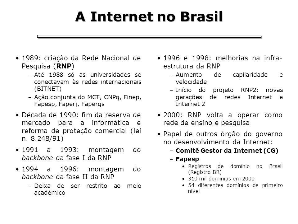 A Internet no Brasil 1989: criação da Rede Nacional de Pesquisa (RNP) –Até 1988 só as universidades se conectavam às redes internacionais (BITNET) –Aç
