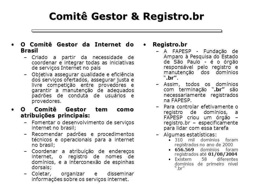 Comitê Gestor & Registro.br O Comitê Gestor da Internet do BrasilO Comitê Gestor da Internet do Brasil –Criado a partir da necessidade de coordenar e