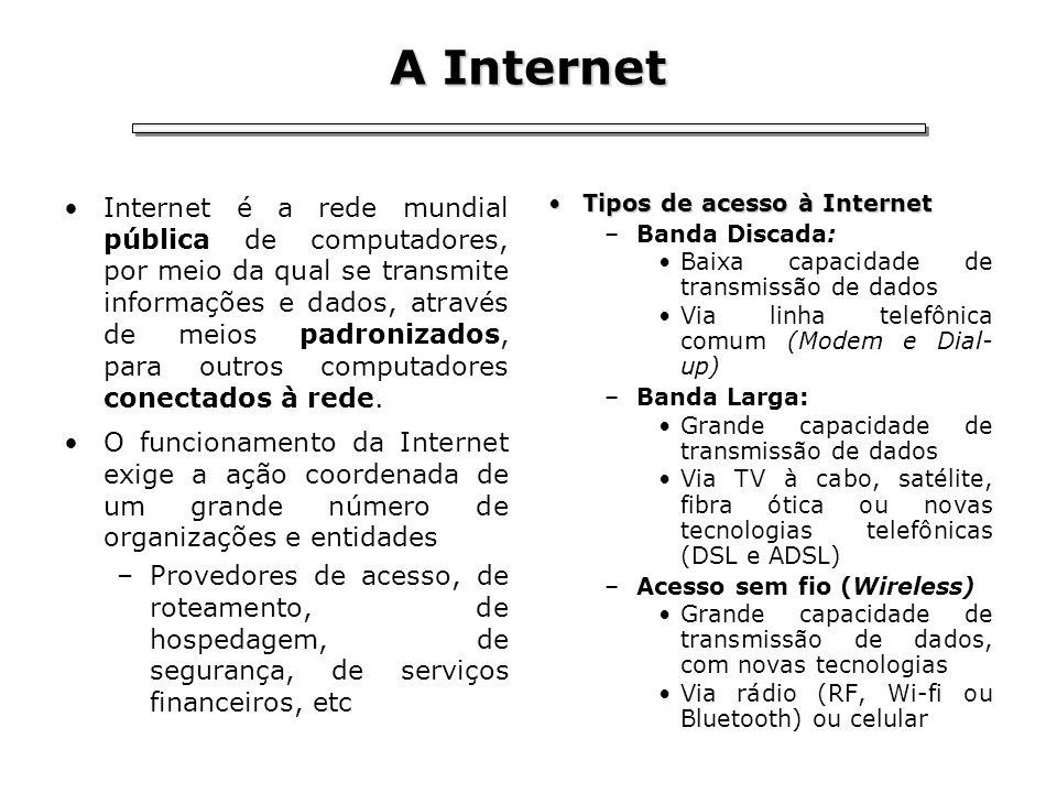 A Internet Internet é a rede mundial pública de computadores, por meio da qual se transmite informações e dados, através de meios padronizados, para o