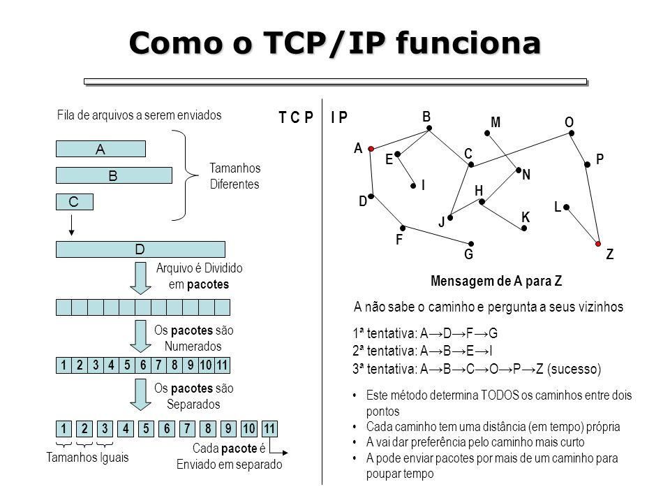 Como o TCP/IP funciona T C P D A B C Fila de arquivos a serem enviados Tamanhos Diferentes 1234567891011 1234567891011 Arquivo é Dividido em pacotes O