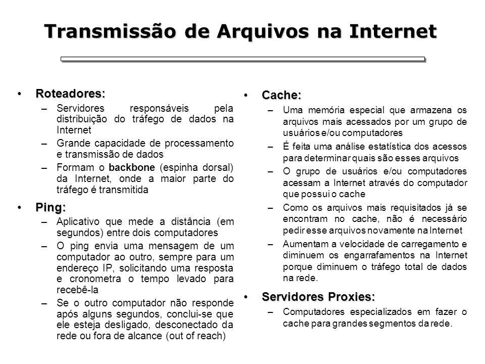 Transmissão de Arquivos na Internet Roteadores:Roteadores: –Servidores responsáveis pela distribuição do tráfego de dados na Internet –Grande capacida