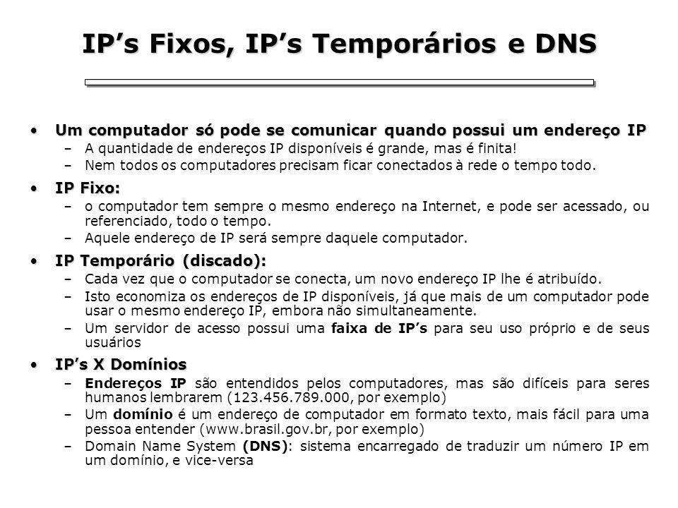 IPs Fixos, IPs Temporários e DNS Um computador só pode se comunicar quando possui um endereço IPUm computador só pode se comunicar quando possui um en