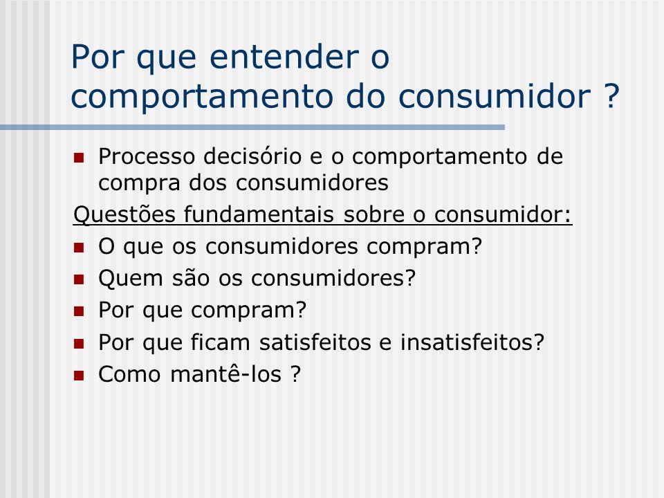 Por que entender o comportamento do consumidor ? Processo decisório e o comportamento de compra dos consumidores Questões fundamentais sobre o consumi