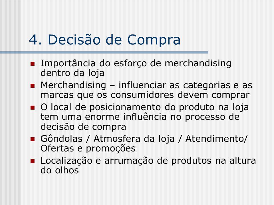 4. Decisão de Compra Importância do esforço de merchandising dentro da loja Merchandising – influenciar as categorias e as marcas que os consumidores