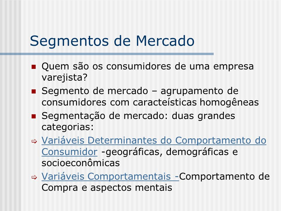 Exemplo: Características dos clientes de uma rede de farmácias Todos moram na região Sul, sendo 65% no Rio Grande do Sula, 10% em Santa catarina e 25% no Paraná 80% moram em cidades de mais de 1 milhão de habitantes e 20% em cidades antre 1 milhão e 300 mil habitantes 15% têm menos de 30 anos, 20% entre 30 e 45 anos, 40% entre 45 e 60 anos e 25% mais de 60 anos 40% são da classe A, 50% da classe B e 10% da classe C e D Atributos mais valorizados quando escolhem farmácias: 45% Atendimento, 25% Preços, 20% Localização, e 10% Variedade Gastos mensais na loja: 5% mais de R$ 100, 10% entre R$100- R$50, 20% entre R$50-R$20, e 65% menos de R$ 20 Área de influência: 70% moram no raio de até 1 km, 20% entre 1-2 km e 10% além de 2 km