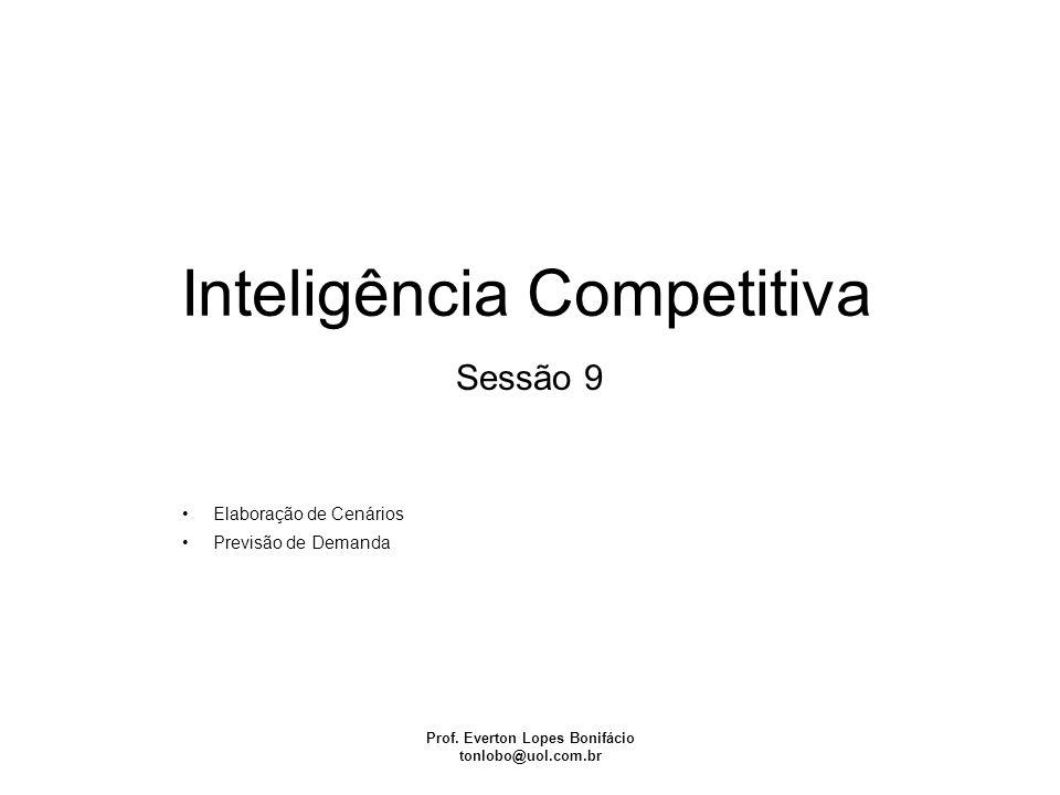 Inteligência Competitiva Prof. Everton Lopes Bonifácio tonlobo@uol.com.br Sessão 9 Elaboração de Cenários Previsão de Demanda