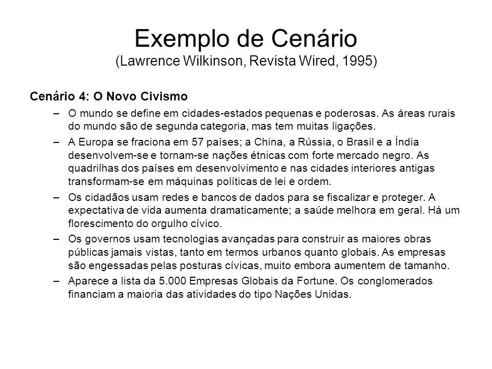 Exemplo de Cenário (Lawrence Wilkinson, Revista Wired, 1995) Cenário 4: O Novo Civismo –O mundo se define em cidades-estados pequenas e poderosas. As