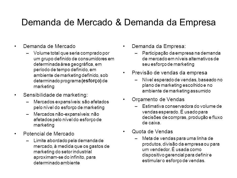 Demanda de Mercado & Demanda da Empresa Demanda de Mercado –Volume total que seria comprado por um grupo definido de consumidores em determinada área