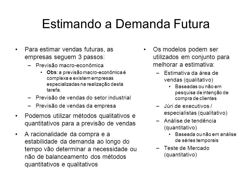 Estimando a Demanda Futura Para estimar vendas futuras, as empresas seguem 3 passos: –Previsão macro-econômica Obs: a previsão macro-econômica é compl