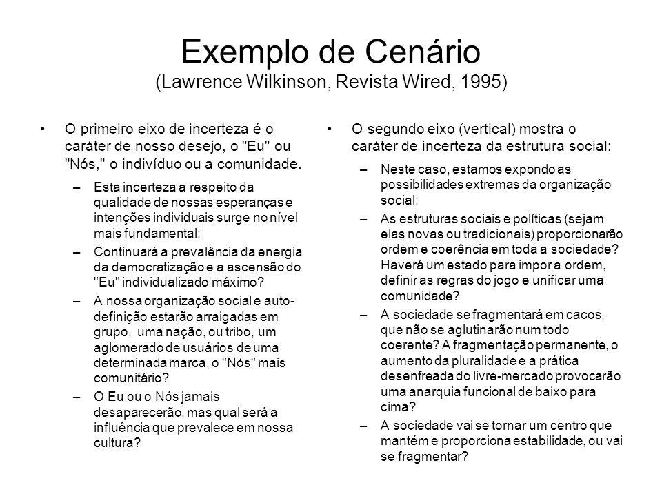 Exemplo de Cenário (Lawrence Wilkinson, Revista Wired, 1995) Cenário 1: O individualismo –O mundo se fragmenta e se transforma num pandemônio de indivíduos, organizados em cargos e não geograficamente.