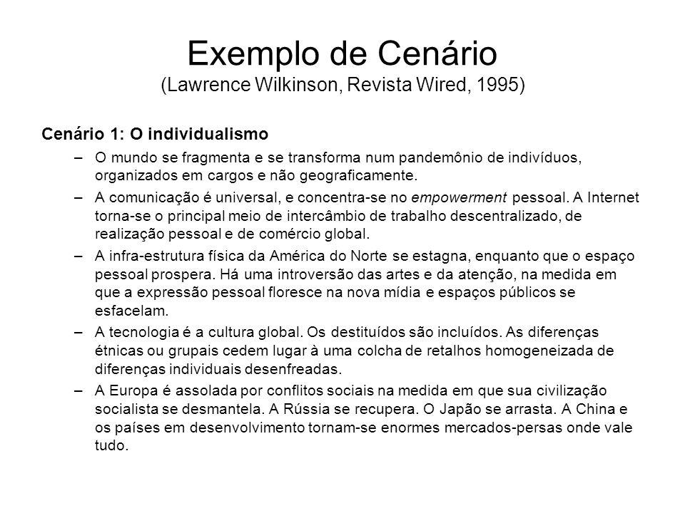 Exemplo de Cenário (Lawrence Wilkinson, Revista Wired, 1995) Cenário 1: O individualismo –O mundo se fragmenta e se transforma num pandemônio de indiv