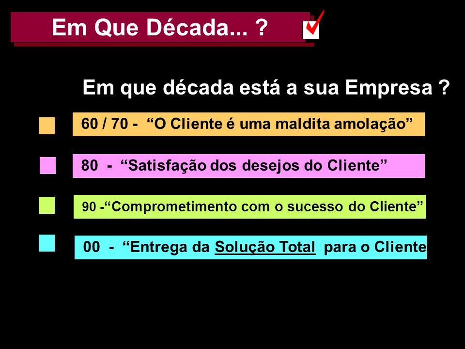 AMK e FF 20023 Em Que Década... ? 60 / 70 - O Cliente é uma maldita amolação 80 - Satisfação dos desejos do Cliente 90 - Comprometimento com o sucesso