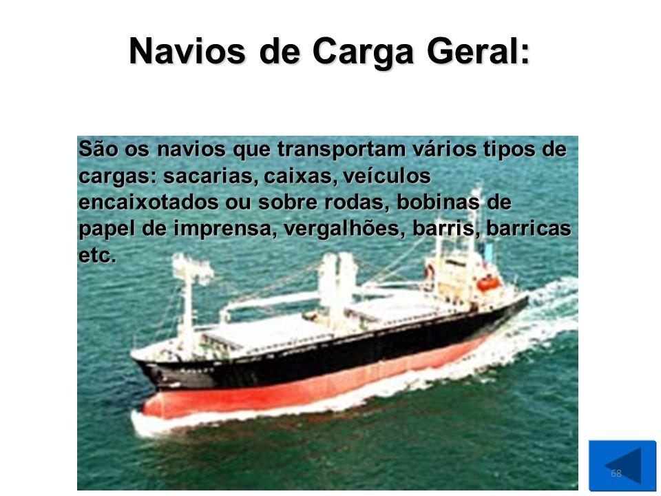 Navios Roll-on Roll-off (Rô-Rô): São os navios em que a carga entra e sai dos porões e cobertas sobre rodas (automóveis, ônibus, caminhões) ou sobre veículos (geralmente carretas, trailers, estrados volantes etc.).