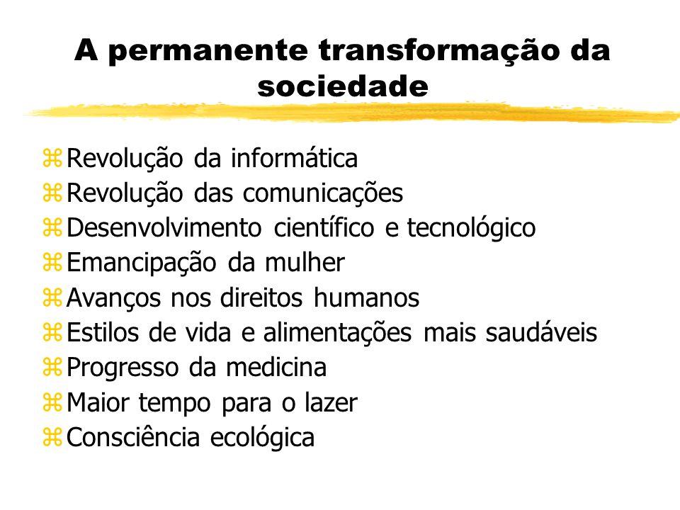 A permanente transformação da sociedade zRevolução da informática zRevolução das comunicações zDesenvolvimento científico e tecnológico zEmancipação d