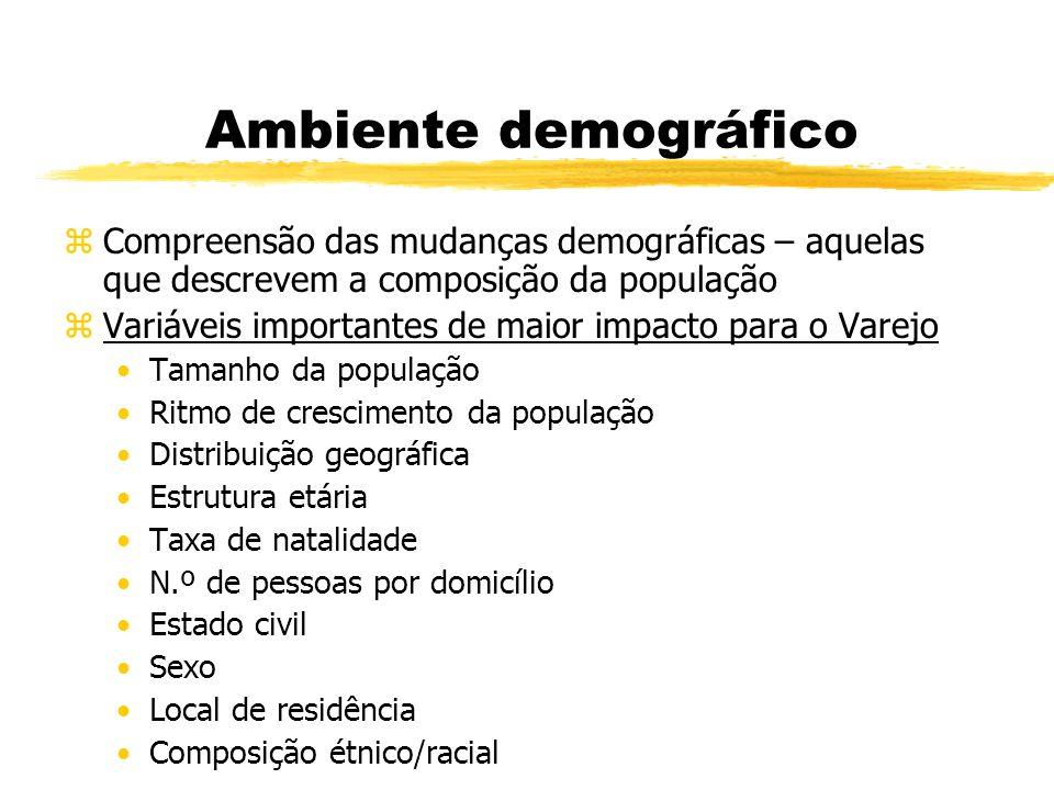 Ambiente demográfico zCompreensão das mudanças demográficas – aquelas que descrevem a composição da população zVariáveis importantes de maior impacto