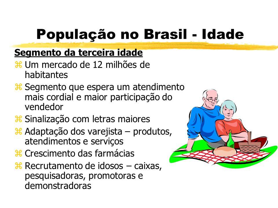 População no Brasil - Idade Segmento da terceira idade zUm mercado de 12 milhões de habitantes zSegmento que espera um atendimento mais cordial e maio