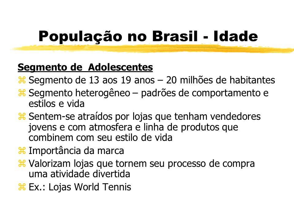 População no Brasil - Idade Segmento de Adolescentes zSegmento de 13 aos 19 anos – 20 milhões de habitantes zSegmento heterogêneo – padrões de comport