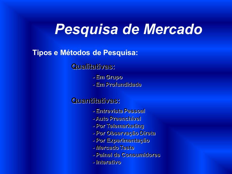 Pesquisa de Mercado Tipos e Métodos de Pesquisa: Qualitativas: - Em Grupo - Em Profundidade Quantitativas: - Entrevista Pessoal - Auto Preenchível - P