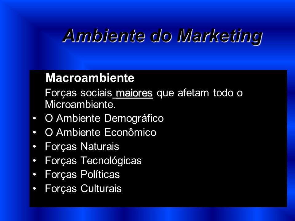 Ambiente do Marketing O Macroambiente maiores Forças sociais maiores que afetam todo o Microambiente. O Ambiente Demográfico O Ambiente Econômico Forç
