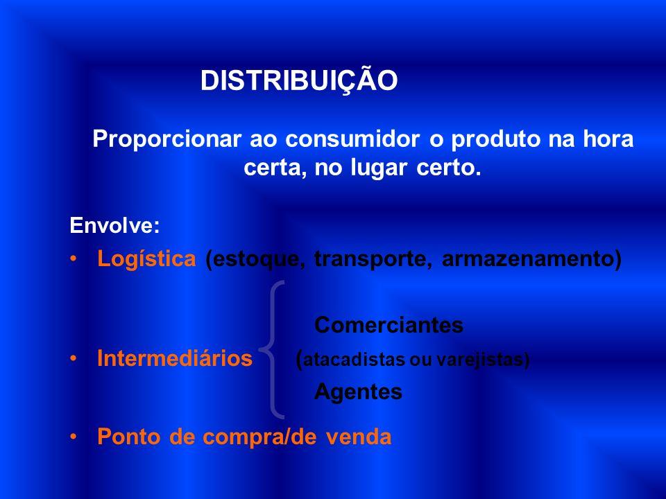 Envolve: Logística (estoque, transporte, armazenamento) Comerciantes Intermediários ( atacadistas ou varejistas) Agentes Ponto de compra/de venda Prop