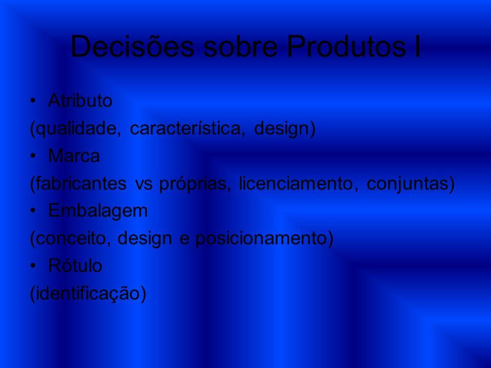 Decisões sobre Produtos I Atributo (qualidade, característica, design) Marca (fabricantes vs próprias, licenciamento, conjuntas) Embalagem (conceito,