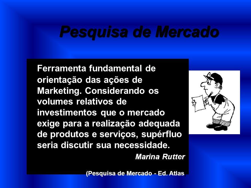 Pesquisa de Mercado Ferramenta fundamental de orientação das ações de Marketing. Considerando os volumes relativos de investimentos que o mercado exig