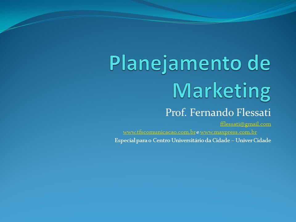 Agenda do curso O ambiente exige o planejamento Administração Estratégica Planejamento de marketing Diagnóstico e avaliação competitiva da organização Determinando objetivos e estratégias de marketing Mix de marketing – a estratégia das ferramentas de marketing Recursos, orçamento, implantação e sistemas de controle Plano de Marketing – como escrever um