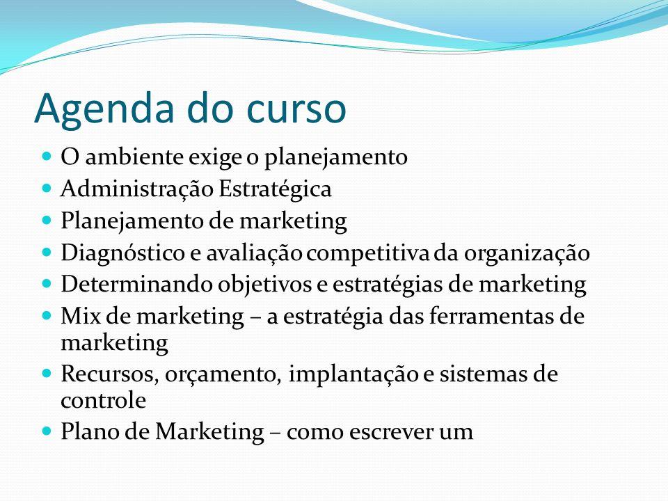 Agenda do curso O ambiente exige o planejamento Administração Estratégica Planejamento de marketing Diagnóstico e avaliação competitiva da organização