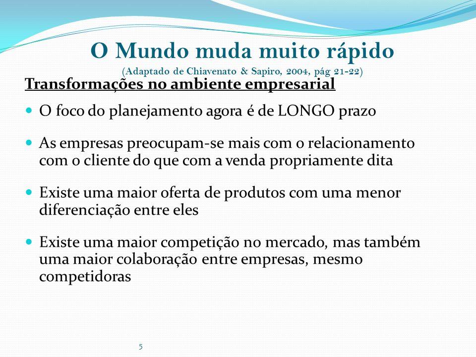 5 O Mundo muda muito rápido (Adaptado de Chiavenato & Sapiro, 2004, pág 21-22) Transformações no ambiente empresarial O foco do planejamento agora é d