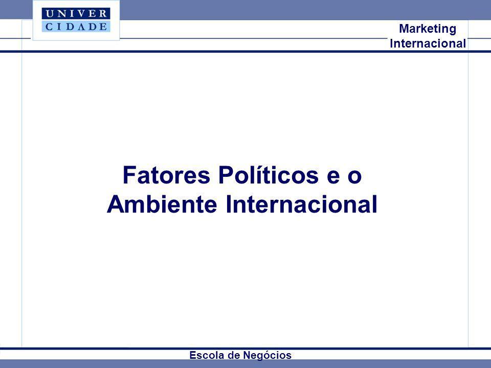 Mkt Internacional Marketing Internacional Fatores Políticos e o Ambiente Internacional Escola de Negócios