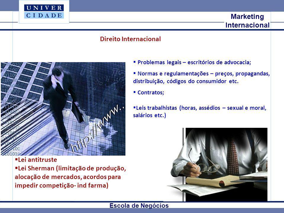 Mkt Internacional Marketing Internacional Escola de Negócios Direito Internacional Problemas legais – escritórios de advocacia; Normas e regulamentaçõ