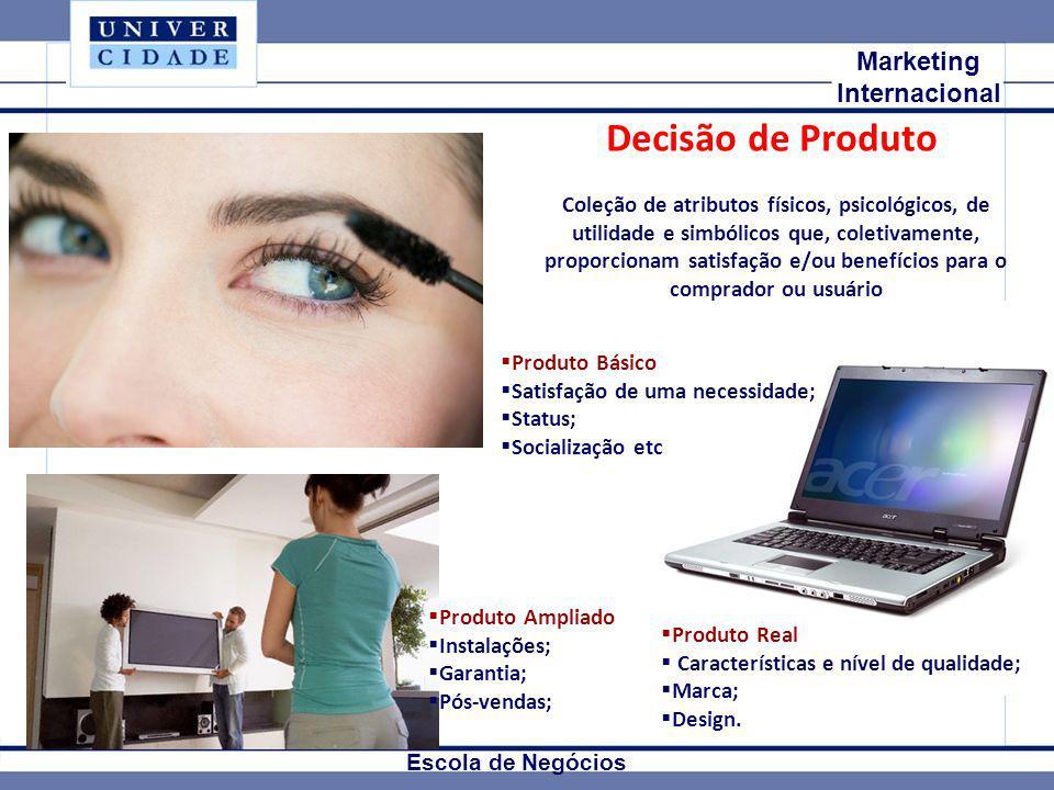 Mkt Internacional Marketing Internacional Escola de Negócios Decisão de Produto Coleção de atributos físicos, psicológicos, de utilidade e simbólicos