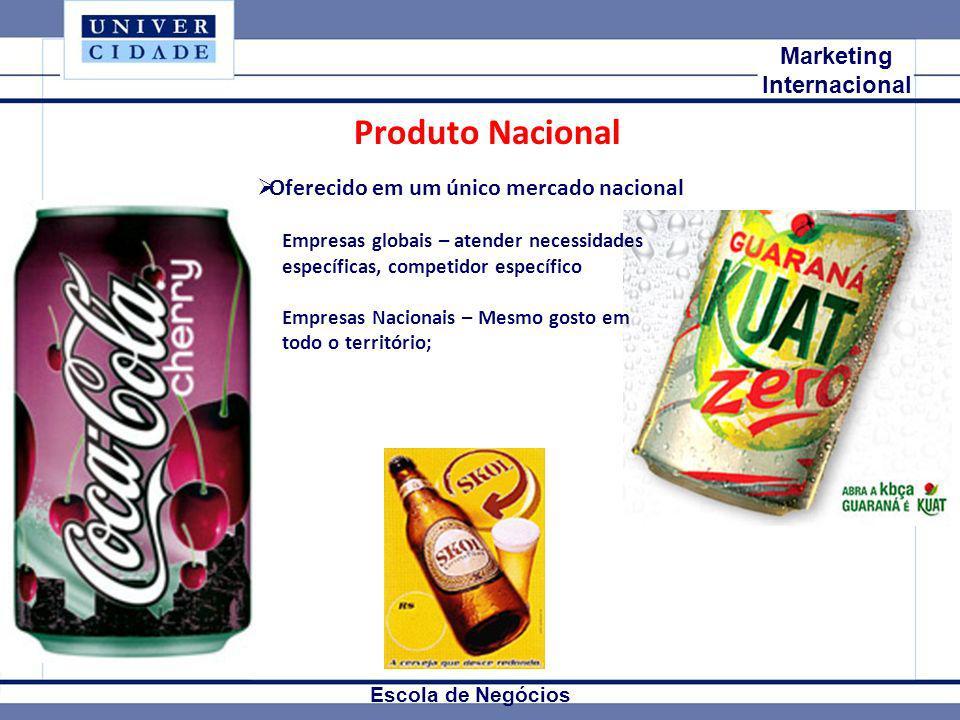 Mkt Internacional Marketing Internacional Escola de Negócios Produto Nacional Oferecido em um único mercado nacional Empresas globais – atender necess