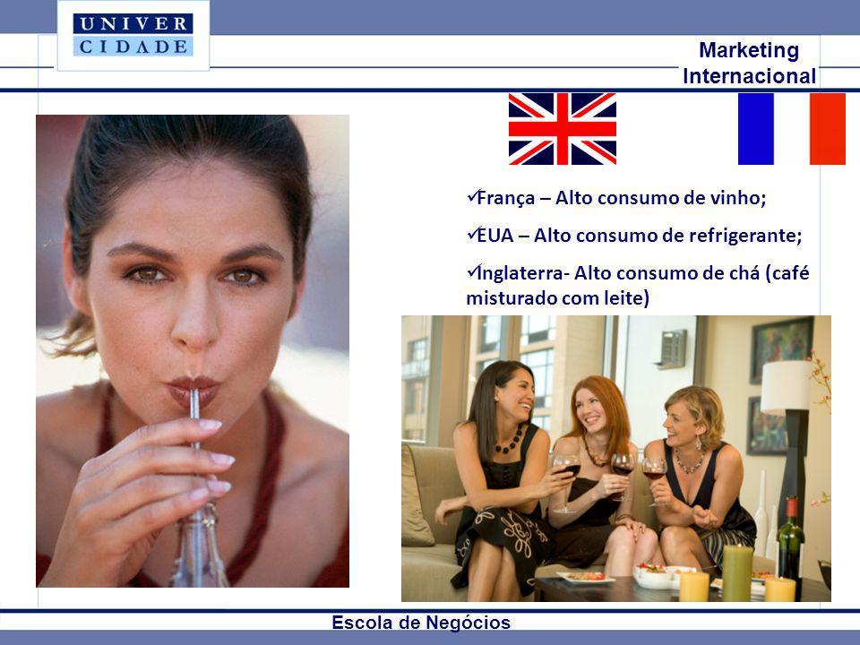 Mkt Internacional Marketing Internacional Escola de Negócios França – Alto consumo de vinho; EUA – Alto consumo de refrigerante; Inglaterra- Alto cons