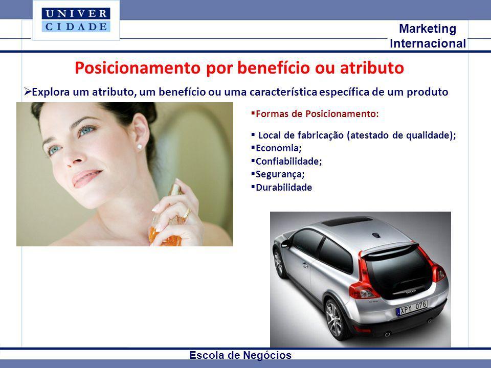 Mkt Internacional Marketing Internacional Escola de Negócios Posicionamento por benefício ou atributo Explora um atributo, um benefício ou uma caracte