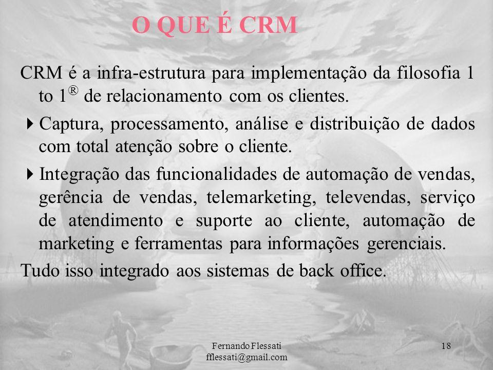 CRM é a infra-estrutura para implementação da filosofia 1 to 1 ® de relacionamento com os clientes. Captura, processamento, análise e distribuição de