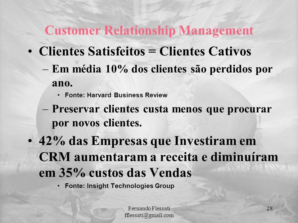 Customer Relationship Management Clientes Satisfeitos = Clientes Cativos –Em média 10% dos clientes são perdidos por ano. Fonte: Harvard Business Revi