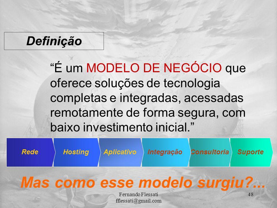 SuporteConsultoriaIntegraçãoAplicativoHostingRede Definição É um MODELO DE NEGÓCIO que oferece soluções de tecnologia completas e integradas, acessada