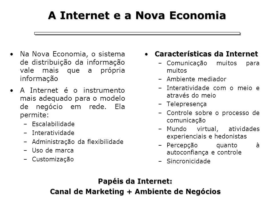 A Internet e a Nova Economia Na Nova Economia, o sistema de distribuição da informação vale mais que a própria informação A Internet é o instrumento m