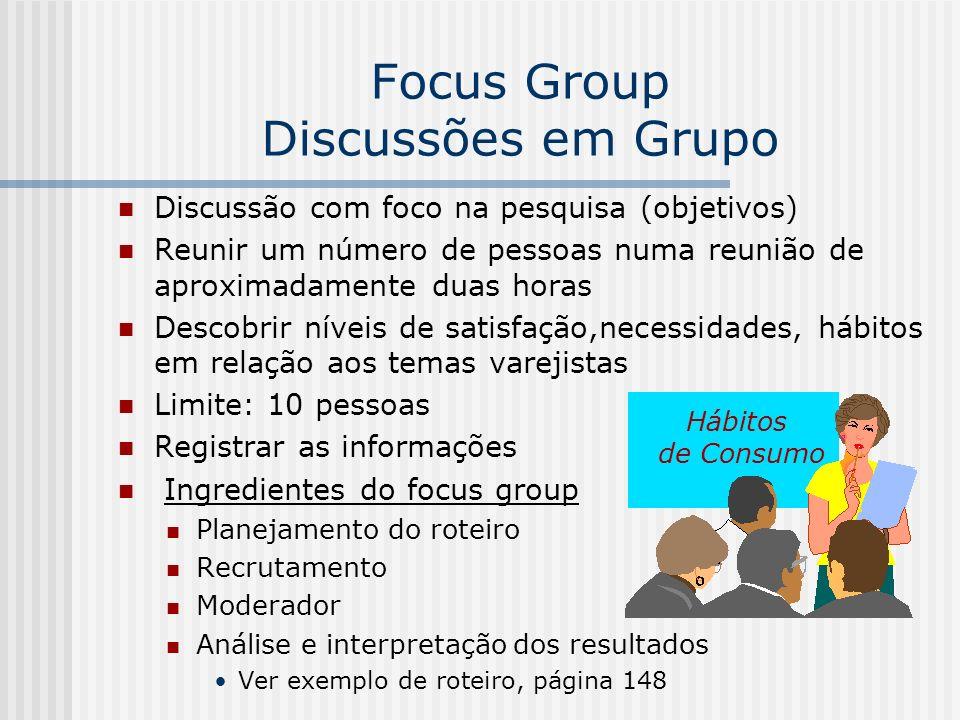 Focus Group Discussões em Grupo Discussão com foco na pesquisa (objetivos) Reunir um número de pessoas numa reunião de aproximadamente duas horas Desc