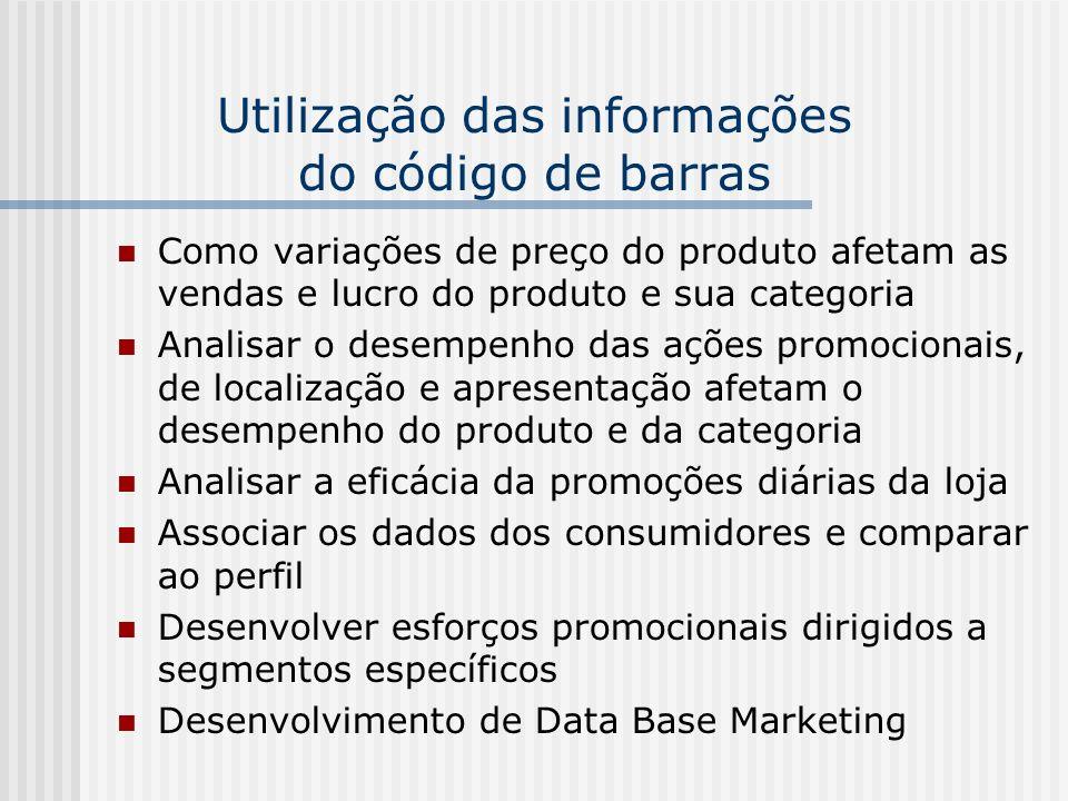 Utilização das informações do código de barras Como variações de preço do produto afetam as vendas e lucro do produto e sua categoria Analisar o desem