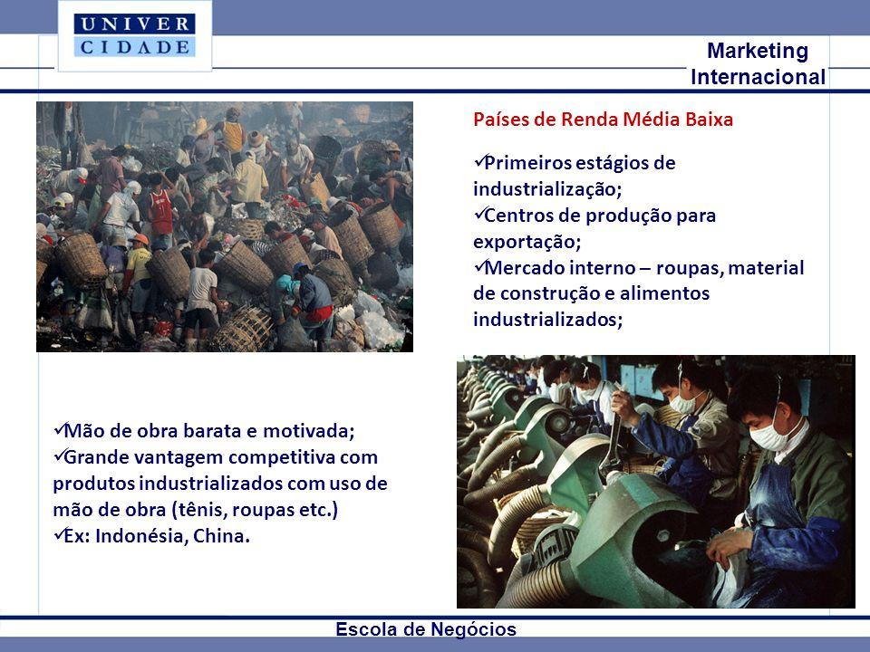 Mkt Internacional Marketing Internacional Escola de Negócios Países de Renda Média Baixa Primeiros estágios de industrialização; Centros de produção p
