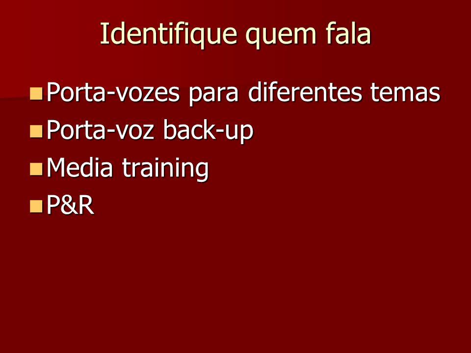 Identifique quem fala Porta-vozes para diferentes temas Porta-vozes para diferentes temas Porta-voz back-up Porta-voz back-up Media training Media tra