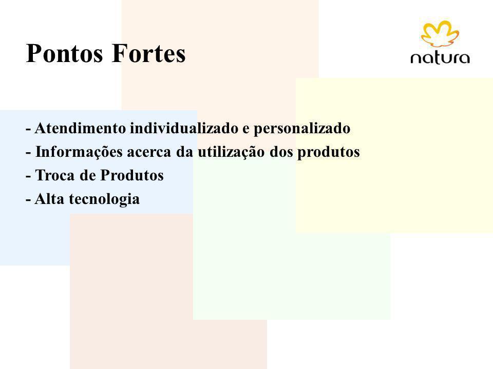 Pontos Fortes - Atendimento individualizado e personalizado - Informações acerca da utilização dos produtos - Troca de Produtos - Alta tecnologia