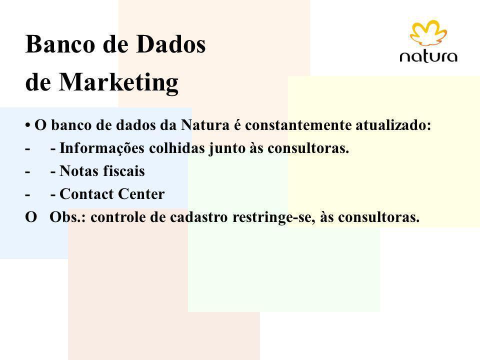 Banco de Dados de Marketing O banco de dados da Natura é constantemente atualizado: - - Informações colhidas junto às consultoras. - - Notas fiscais -