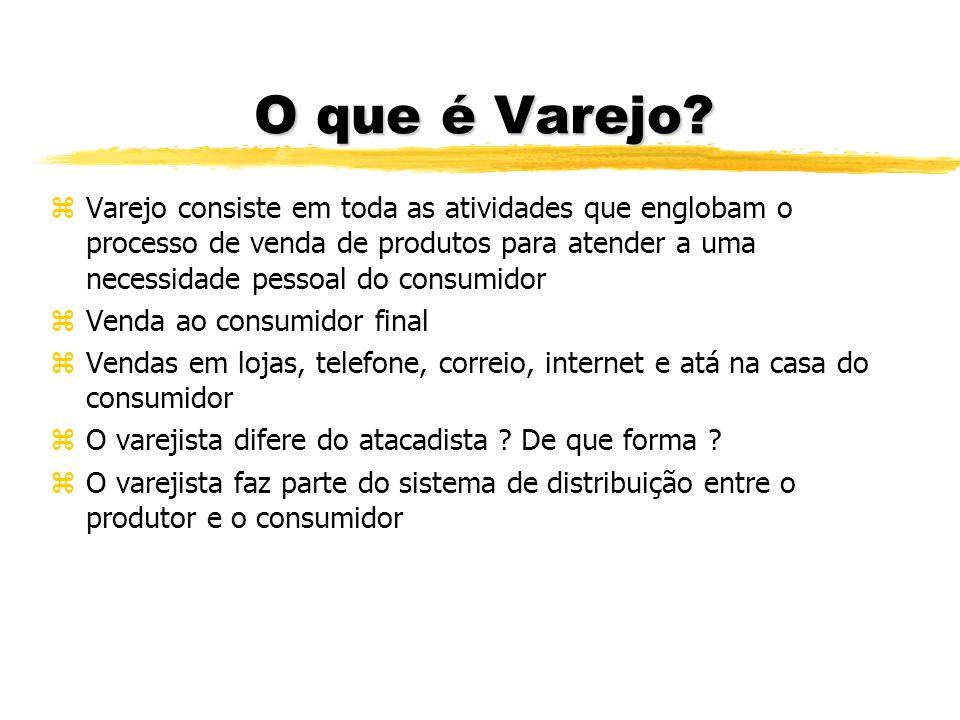 O que é Varejo? zVarejo consiste em toda as atividades que englobam o processo de venda de produtos para atender a uma necessidade pessoal do consumid